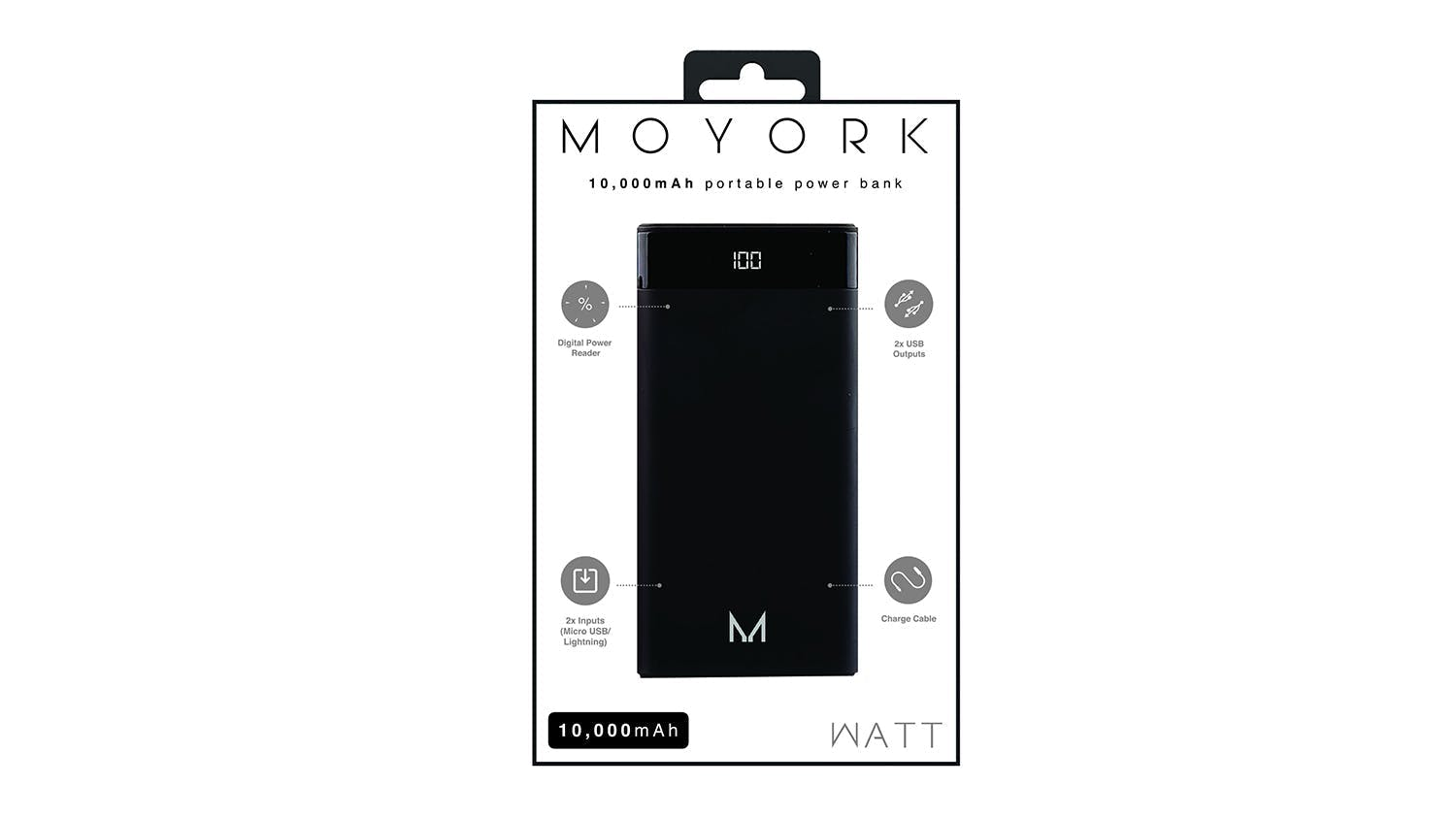 Moyork Watt 10000mAh Power Bank - Raven Black