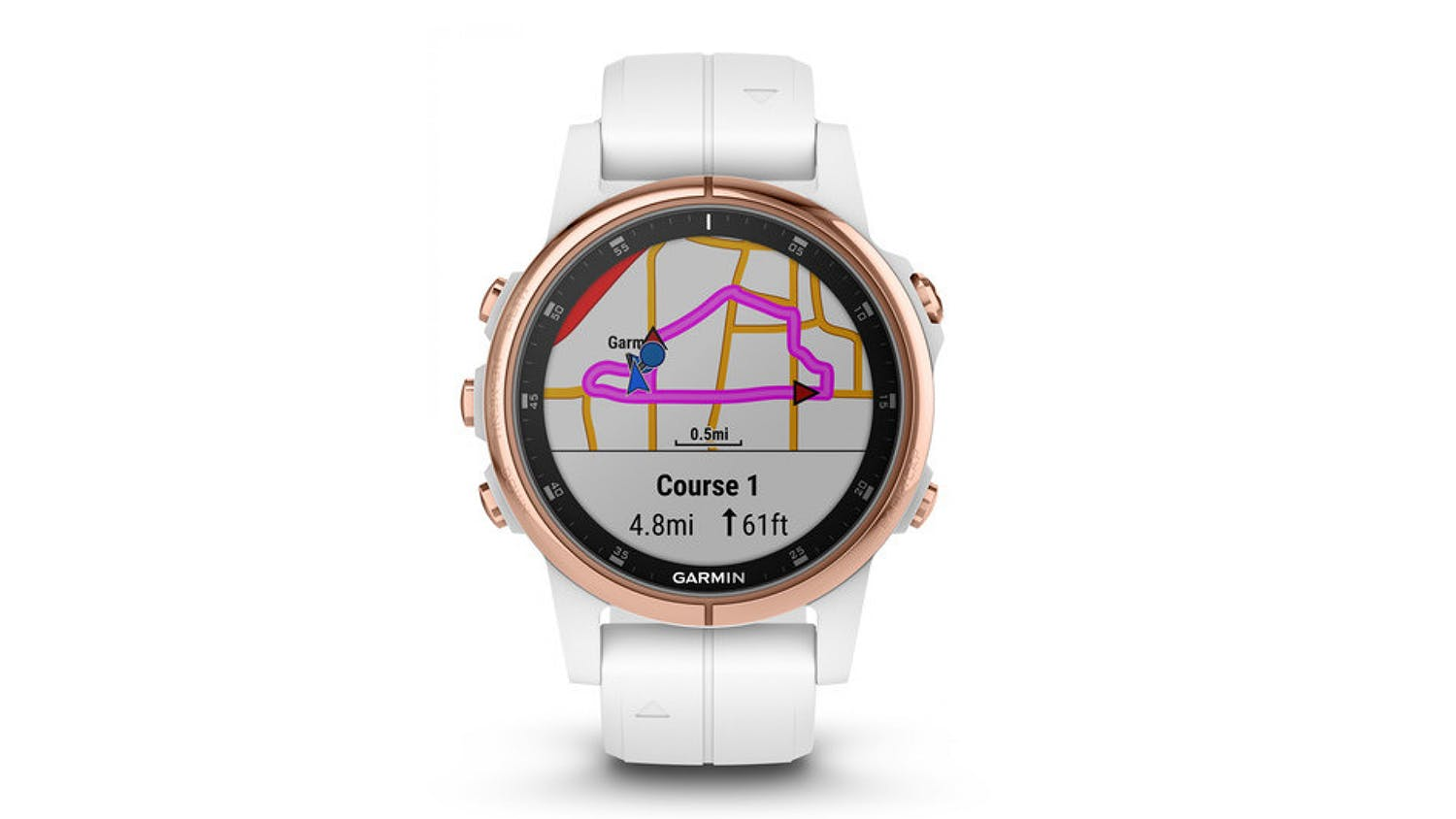 Garmin fenix 5S Plus Sapphire Edition 42mm - Rose Goldtone with White Band