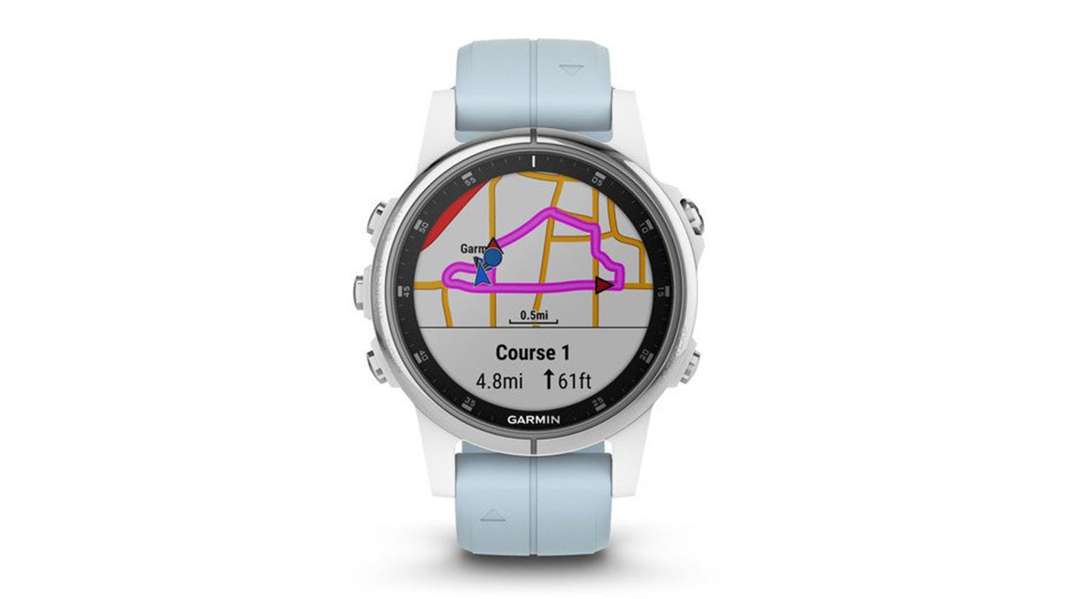 Garmin fenix 5S Plus 42mm - White with Seafoam Band