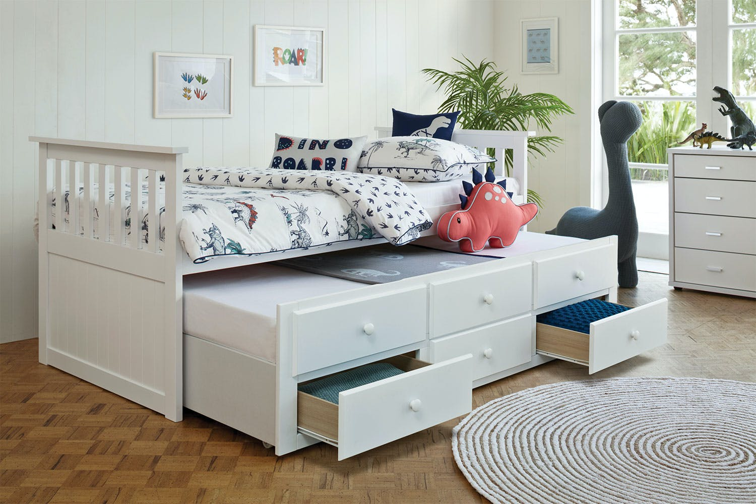 Bailey Captain S Single Bed Frame With Trundle By John Young Furniture Harvey Norman New Zealand