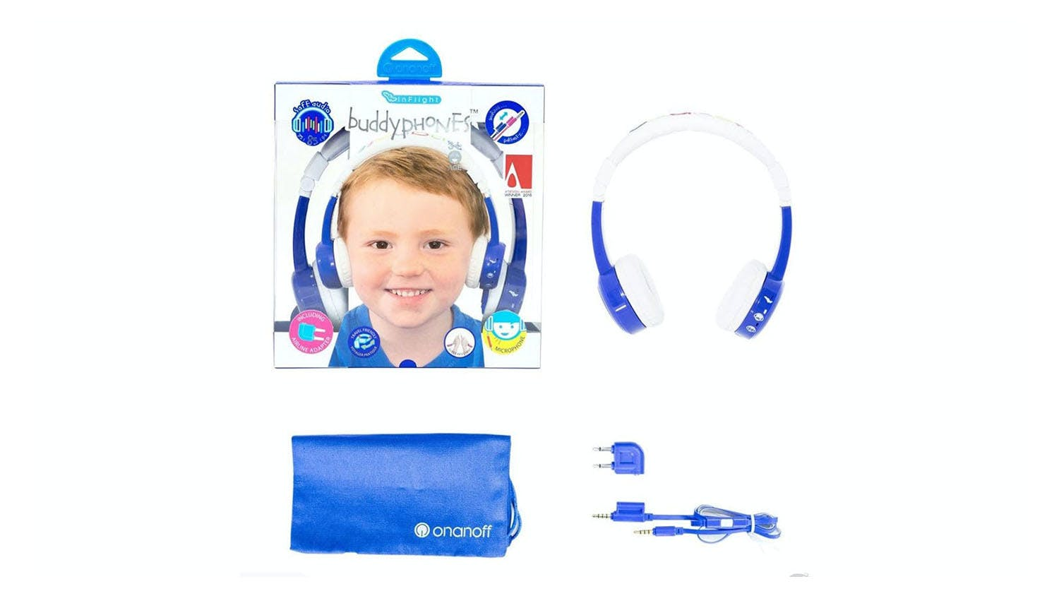 BuddyPhones InFlight Kids On-Ear Headphones - Blue