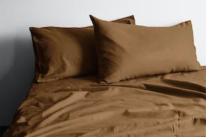 Vintage Organic Cotton Tobacco Sheet Set by Aura