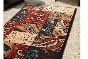 Mandolin Beige/Rust/Charcoal Floor Rug by Mulberi