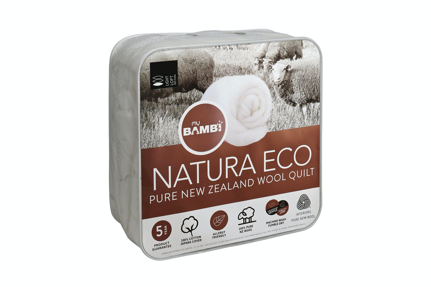 Image of Natura Eco NZ Wool 350gsm Duvet Inner by Bambi