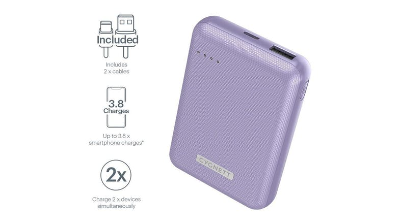 Cygnett ChargeUp Reserve 10,000mAh 18W Power Bank - Lilac