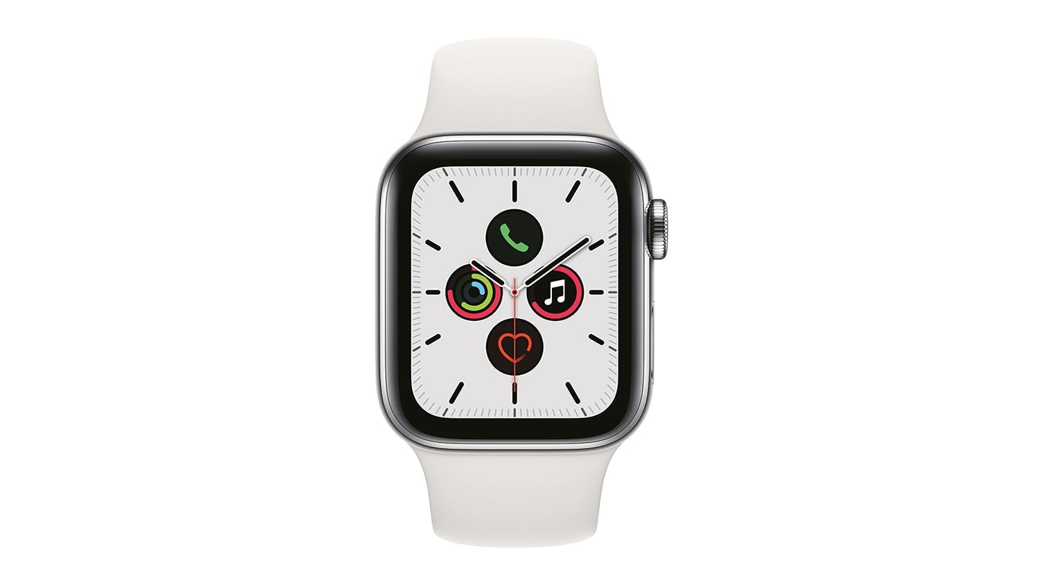 Apple Watch Series 5 (GPS+Cellular) 40mm Silver Stainless Steel + White Sport Band
