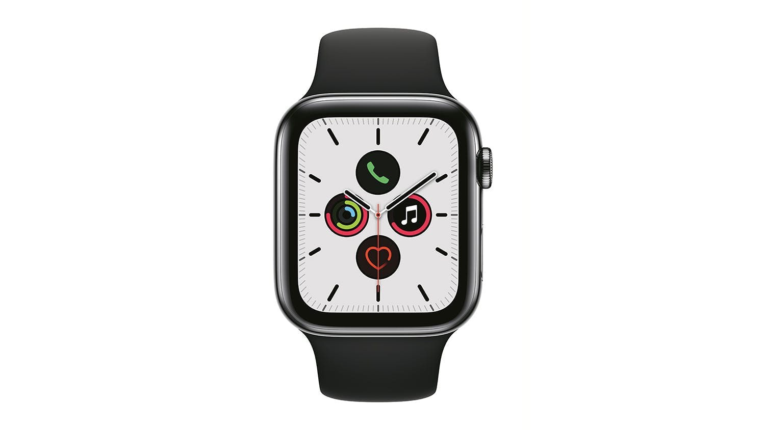 Apple Watch Series 5 (GPS+Cellular) 44mm Space Black Stainless Steel + Black Sport Band