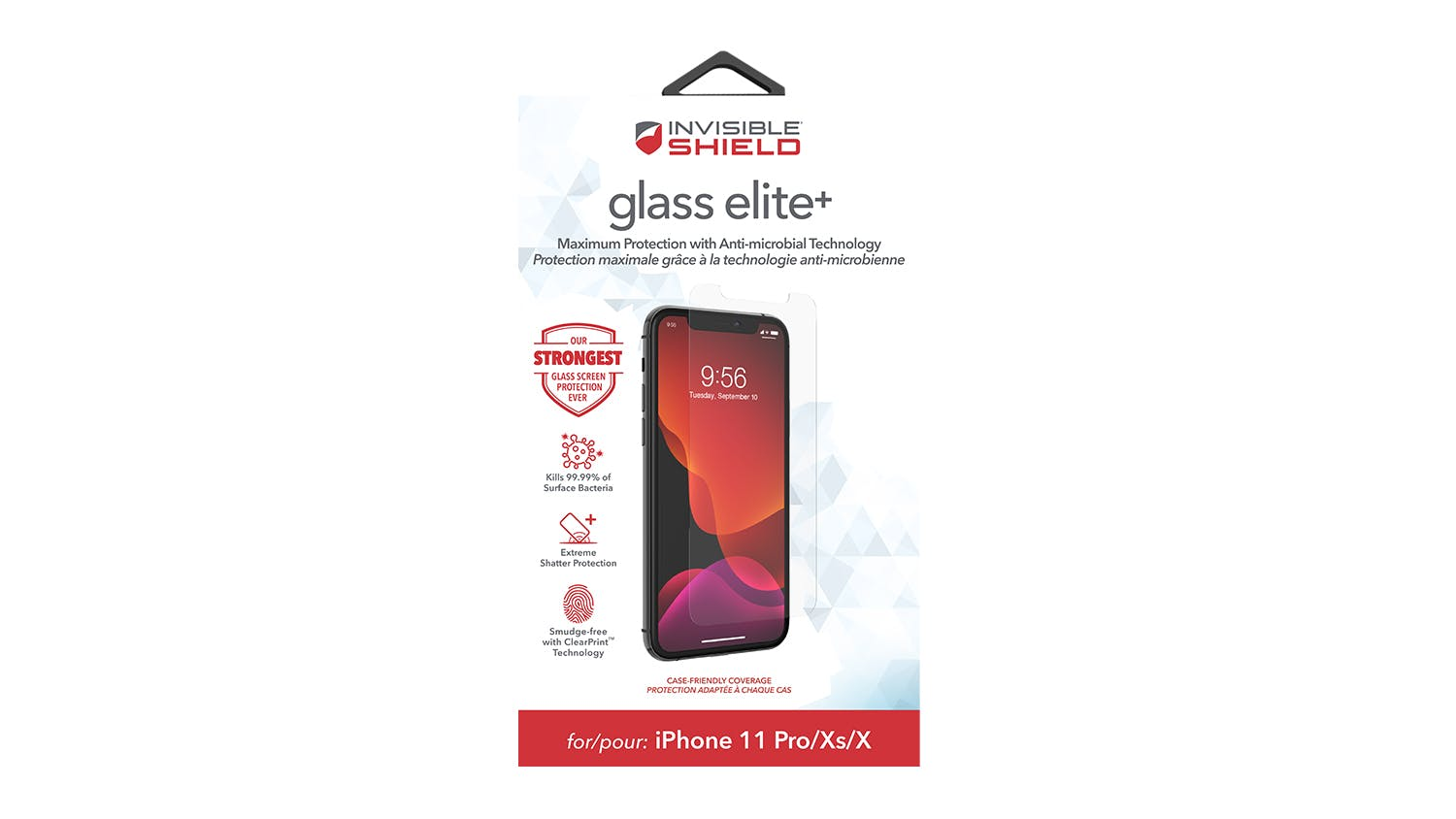 Zagg InvisibleShield GlassElite+ for iPhone X/XS/11 Pro