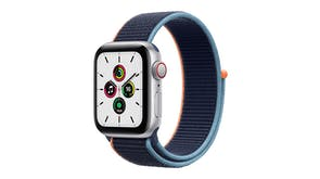 Apple Watch SE (GPS+Cellular) 44mm Silver Aluminium Case with Deep Navy Sport Loop