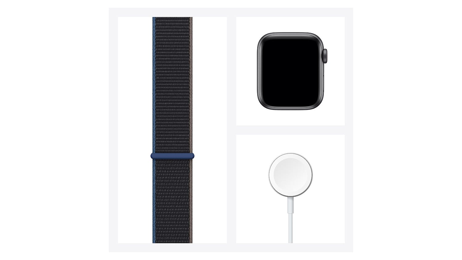Apple Watch SE (GPS+Cellular) 40mm Space Grey Aluminium Case with Charcoal Sport Loop