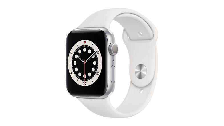 Apple Watch Series 6 (GPS) 44mm Silver Aluminium Case with White Sport Band