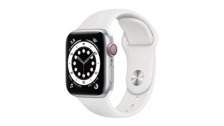 Apple Watch Series 6 (GPS+Cellular) 40mm Silver Aluminium Case with White Sport Band