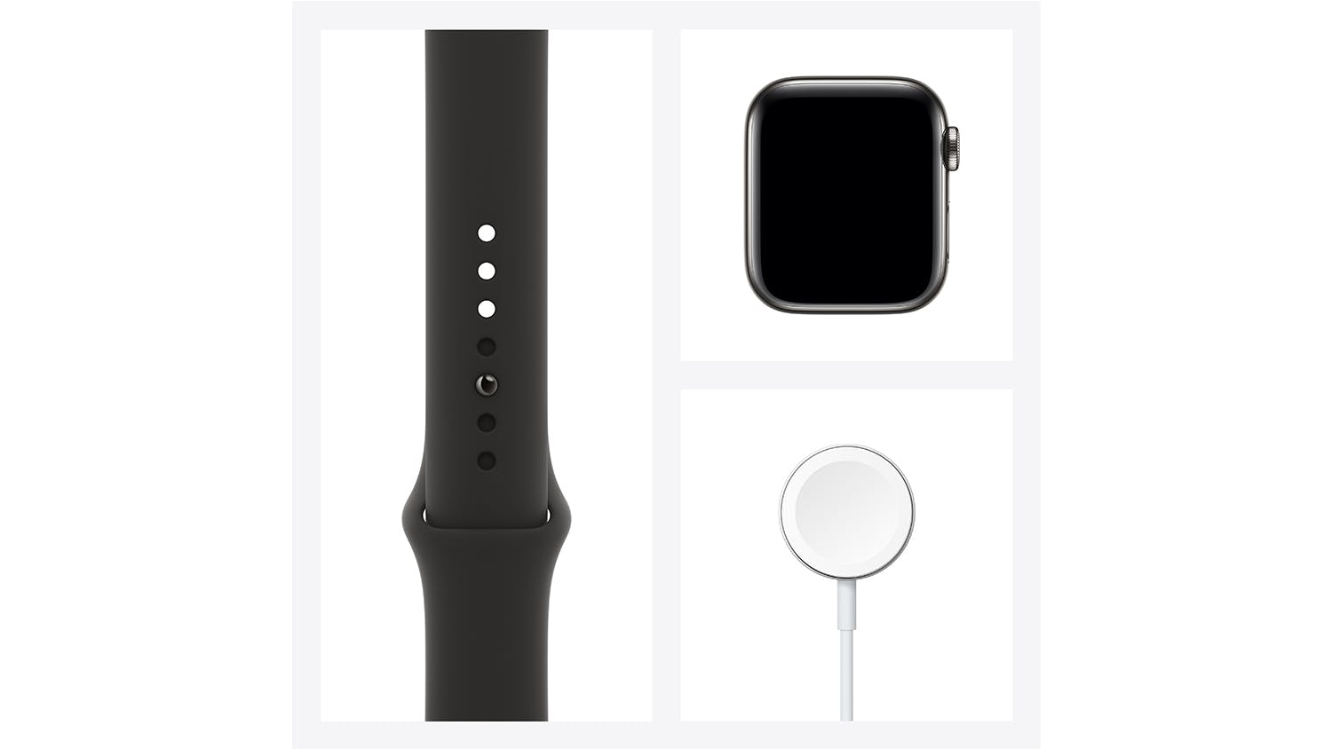 Apple Watch Series 6 (GPS+Cellular) 44mm Graphite Stainless Steel Case with Black Sport Band