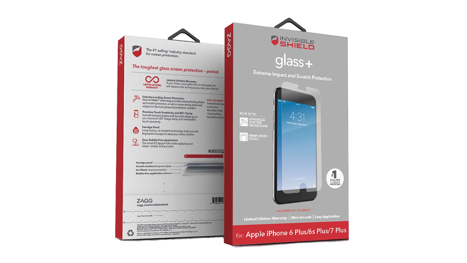 Zagg InvisibleShield Glass+ for iPhone 6/6s/7 Plus