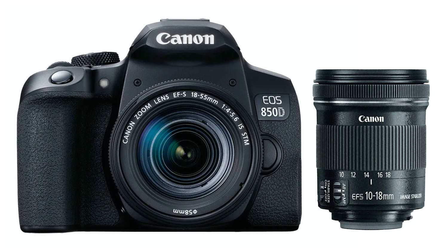 Image of Canon EOS 850D DSLR with 18-55mm & 10-18mm Lens