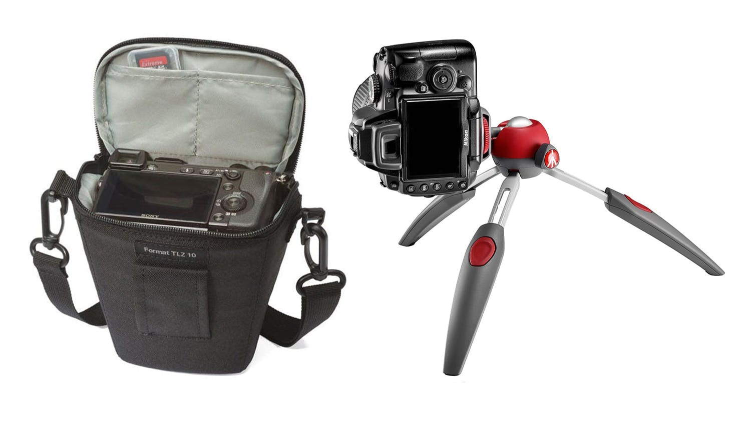 Lowepro Topload Holster Format TLZ 10 + Manfrotto Pixi 2-Section Mini Tripod Bundle