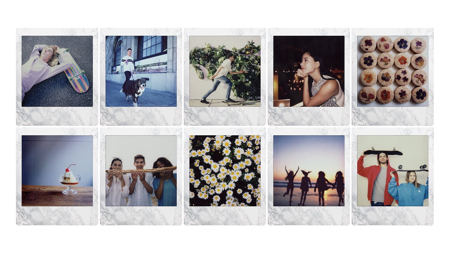 Instax Square Film 10 Pack - White Marble