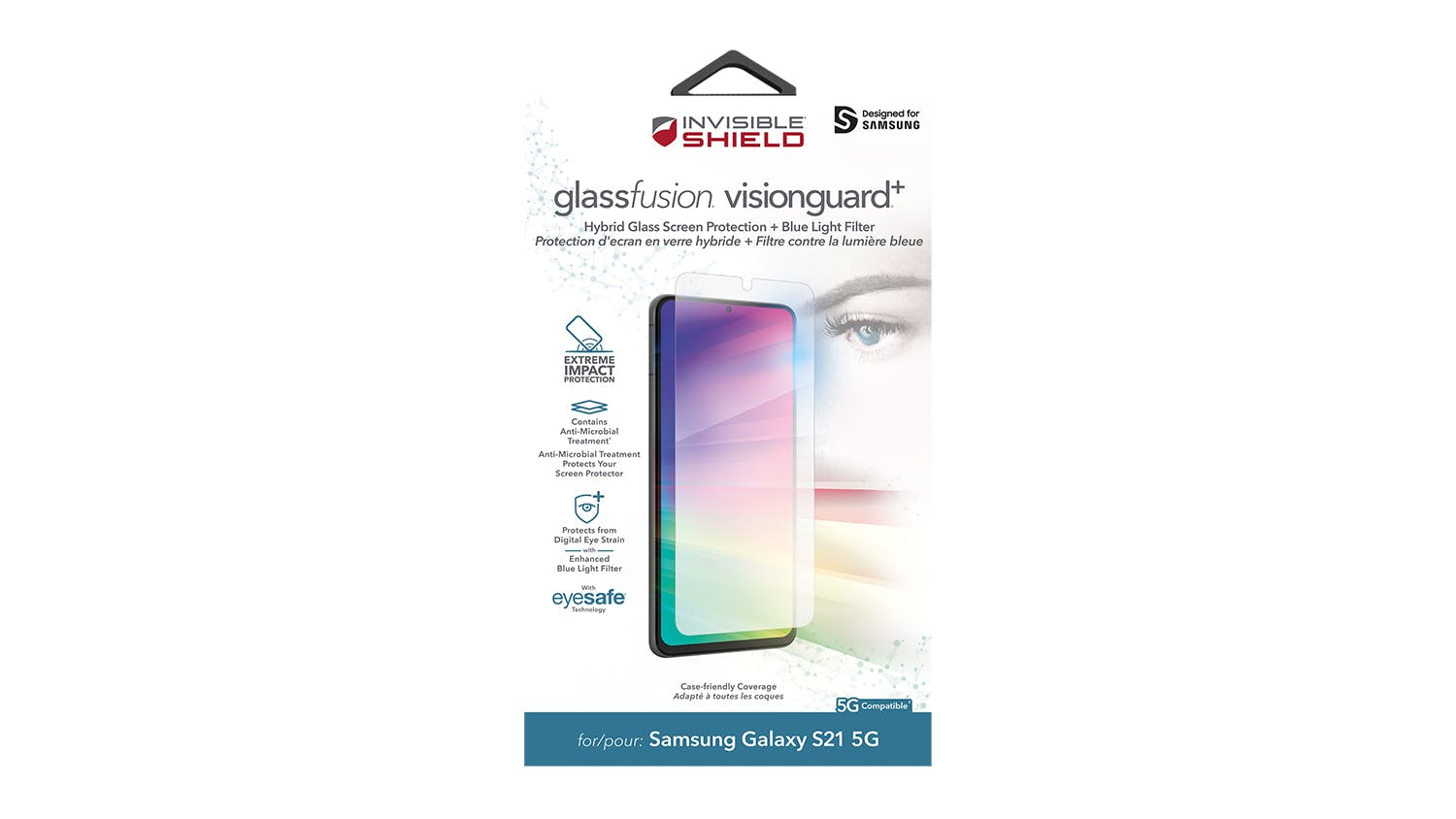 Zagg InvisibleShield GlassFusion VisionGuard+ Screen Protector for Samsung Galaxy S21 5G