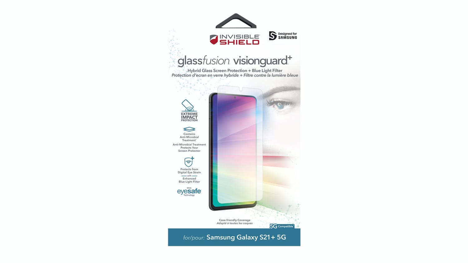 Zagg InvisibleShield GlassFusion VisionGuard+ Screen Protector for Samsung Galaxy S21+ 5G
