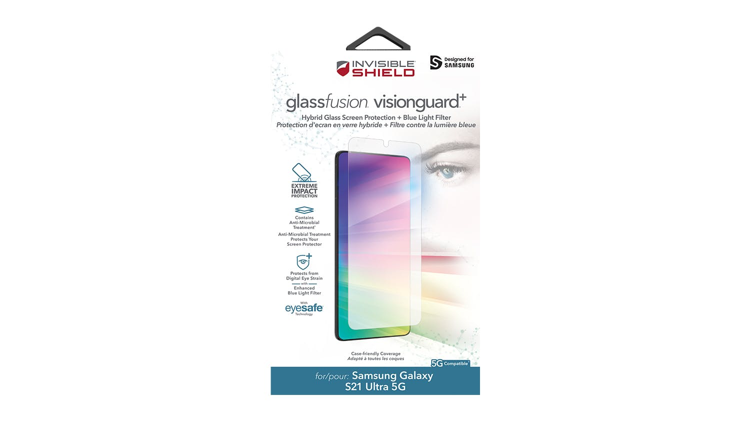 Zagg InvisibleShield GlassFusion VisionGuard+ Screen Protector for Samsung Galaxy S21 Ultra 5G