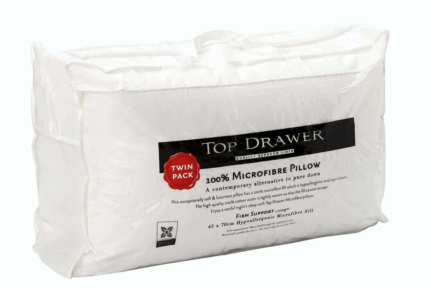 Microfibre Twin Pack Pillow by Top Drawer