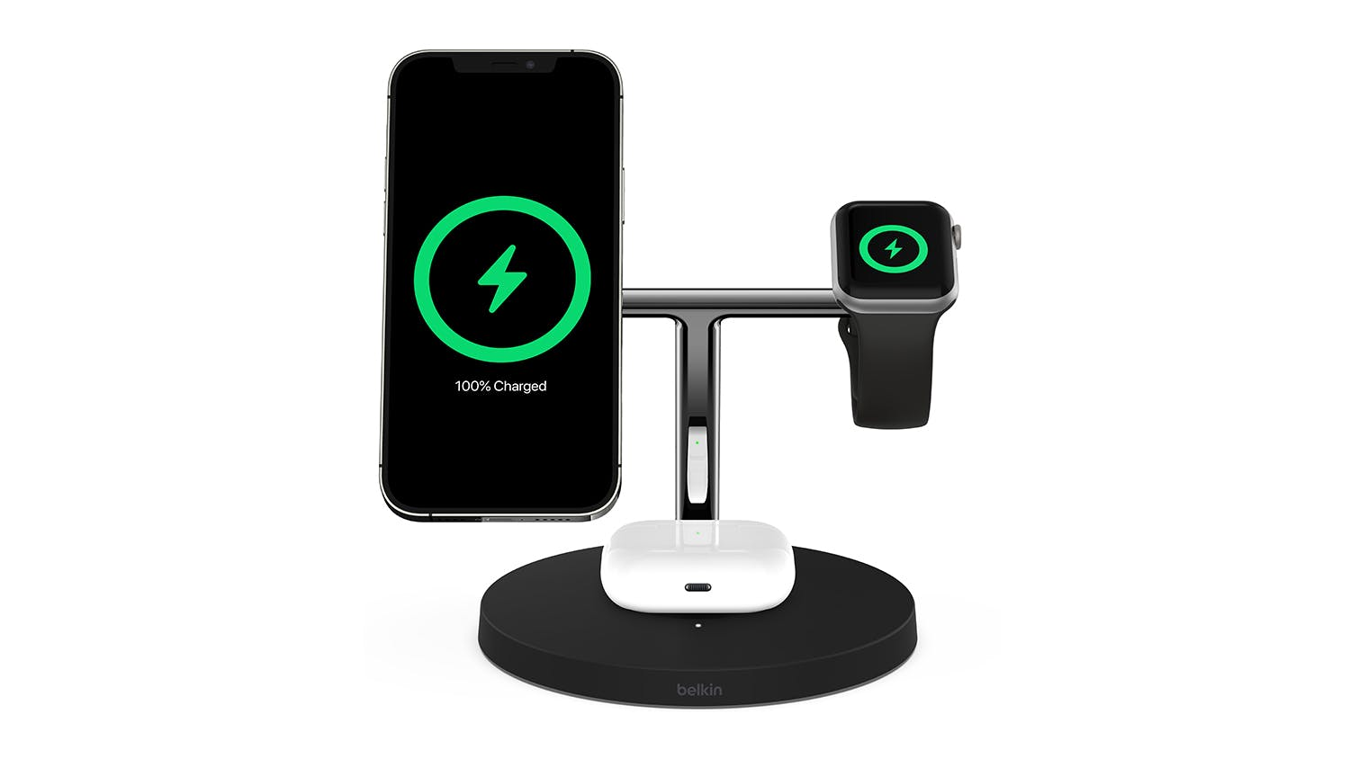 Belkin Boost Up Charge Pro 3-in-1 Wireless Charger Stand with MagSafe 15W - Black