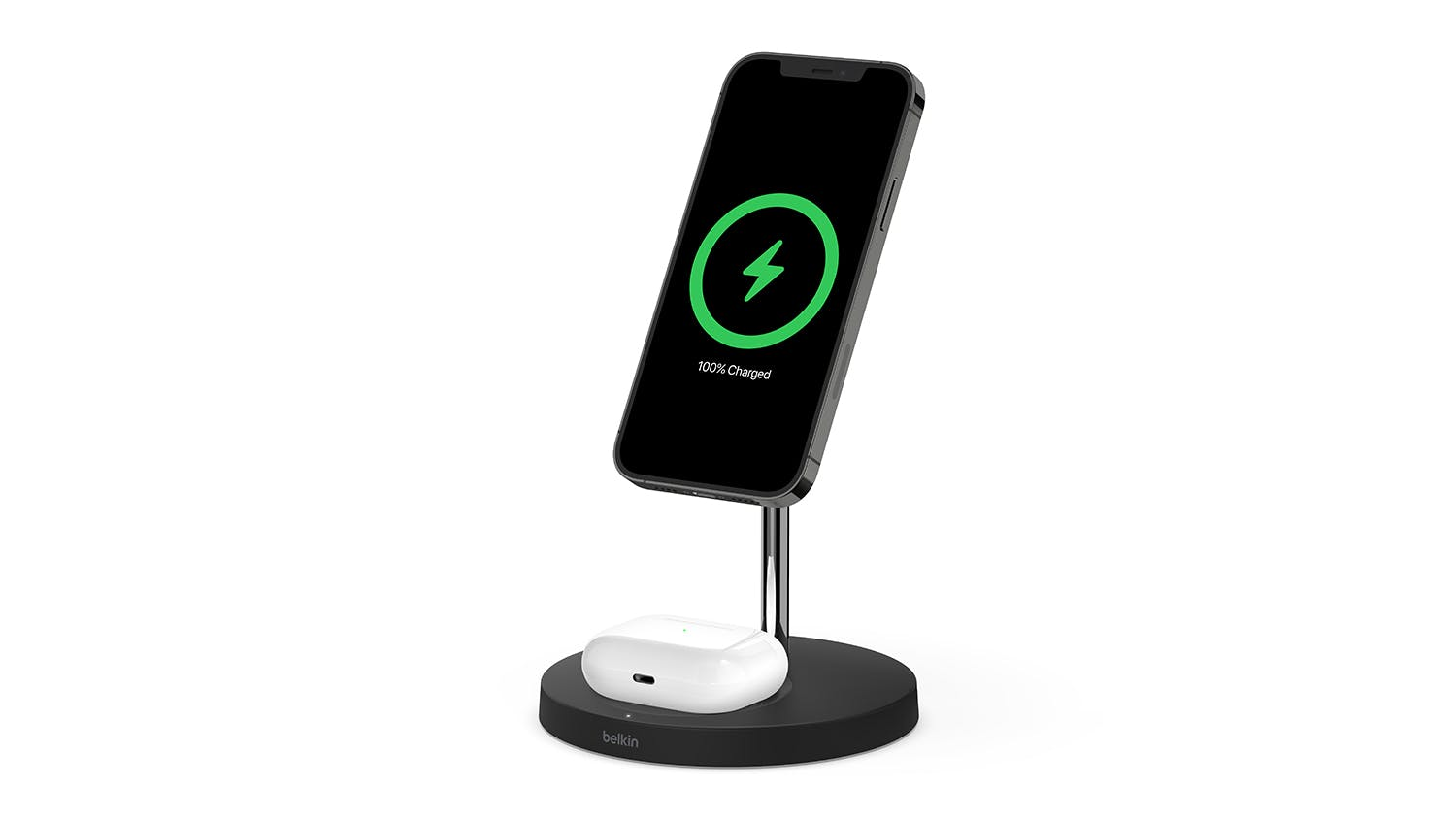 Belkin Boost Up Charge Pro 2-in-1 Wireless Charger Stand with MagSafe 15W - Black