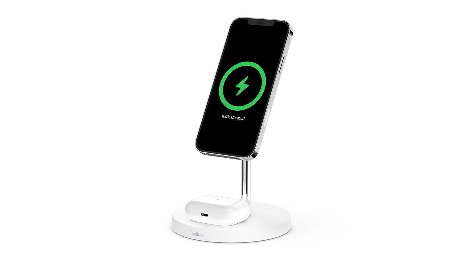 Belkin Boost Up Charge Pro 2-in-1 Wireless Charger Stand with MagSafe 15W - White