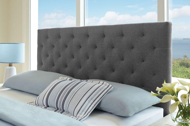 Queen Headboard Grey Linen Lifestyle