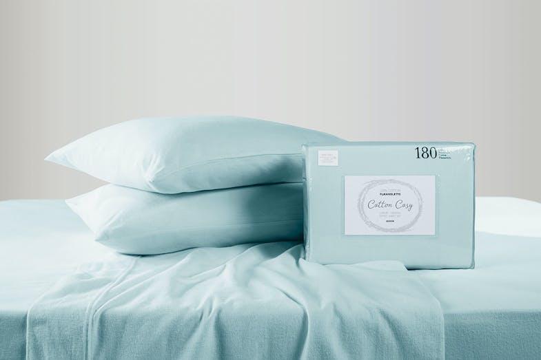 180gsm Light Blue Flannelette Sheet Set by Cotton Cosy