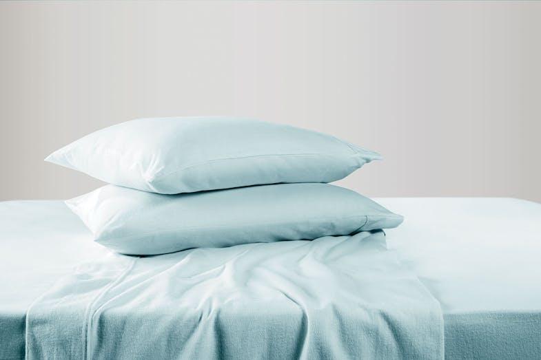 180gsm Light Blue Flannelette Sheet Set by Cotton Cosy 1