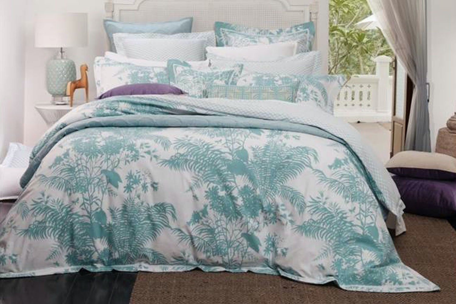 Florence Broadhurst Bed Linen- Shadow Floral Teal