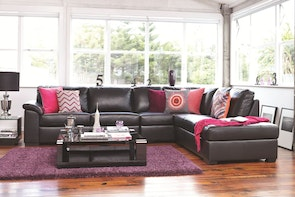 Saturn Leather Corner Lounge Chaise with Sofa Bed
