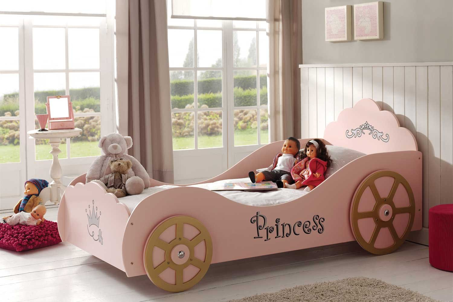 pink princess car bed