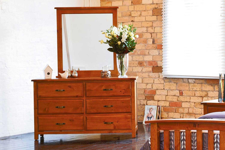 Pine Dresser and Mirror