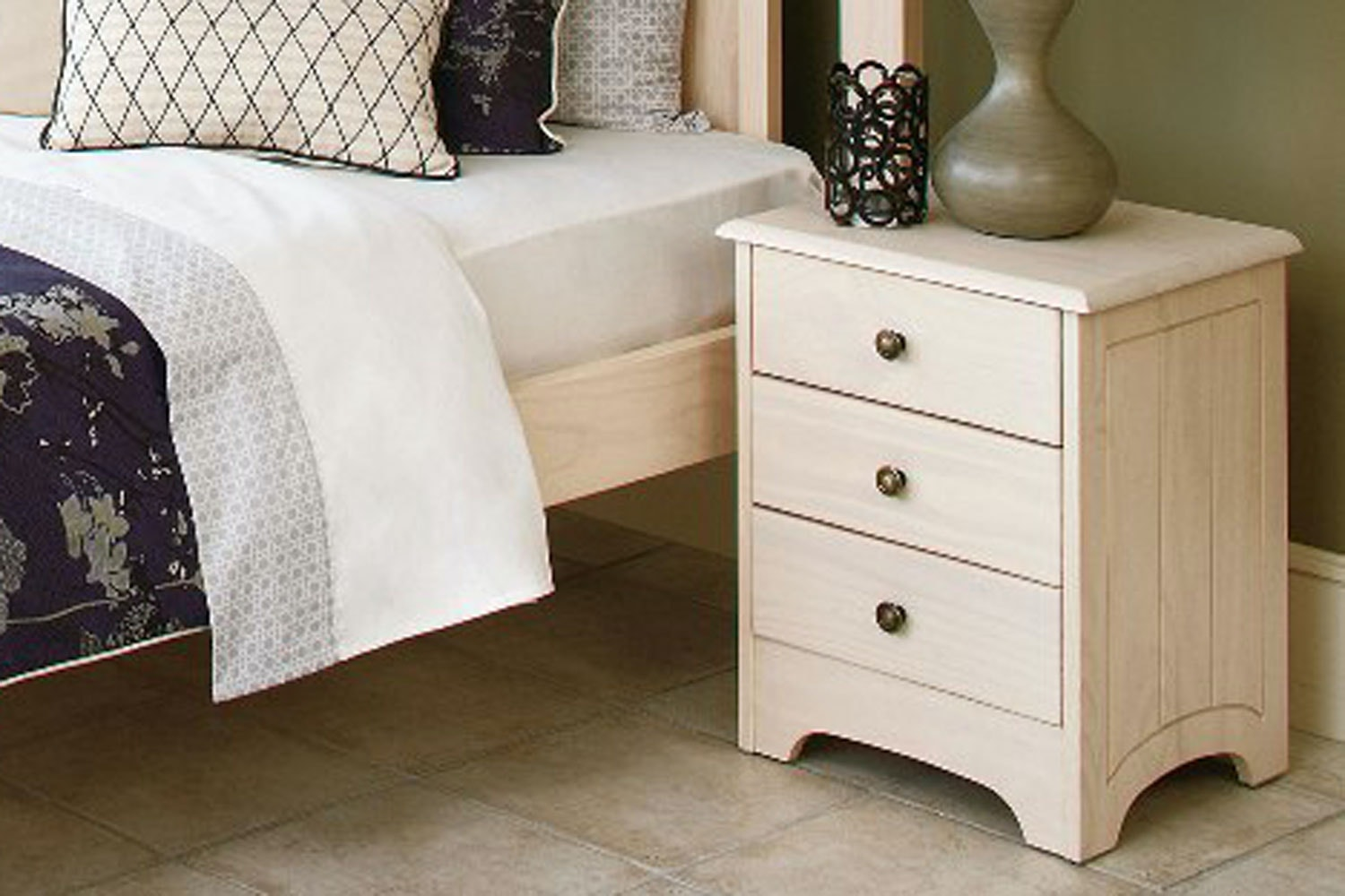 Calais 3 Drawer White Wash Bedside Table by Coastwood Furniture