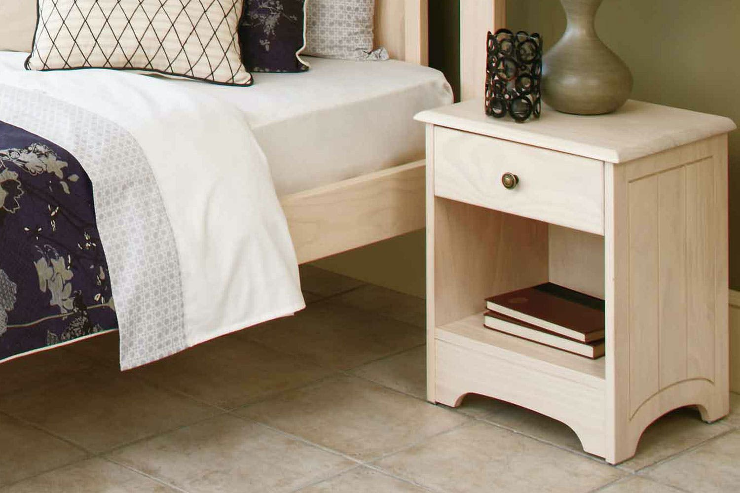 Calais 1 Drawer Bedside Table by Coastwood - White Wash ...