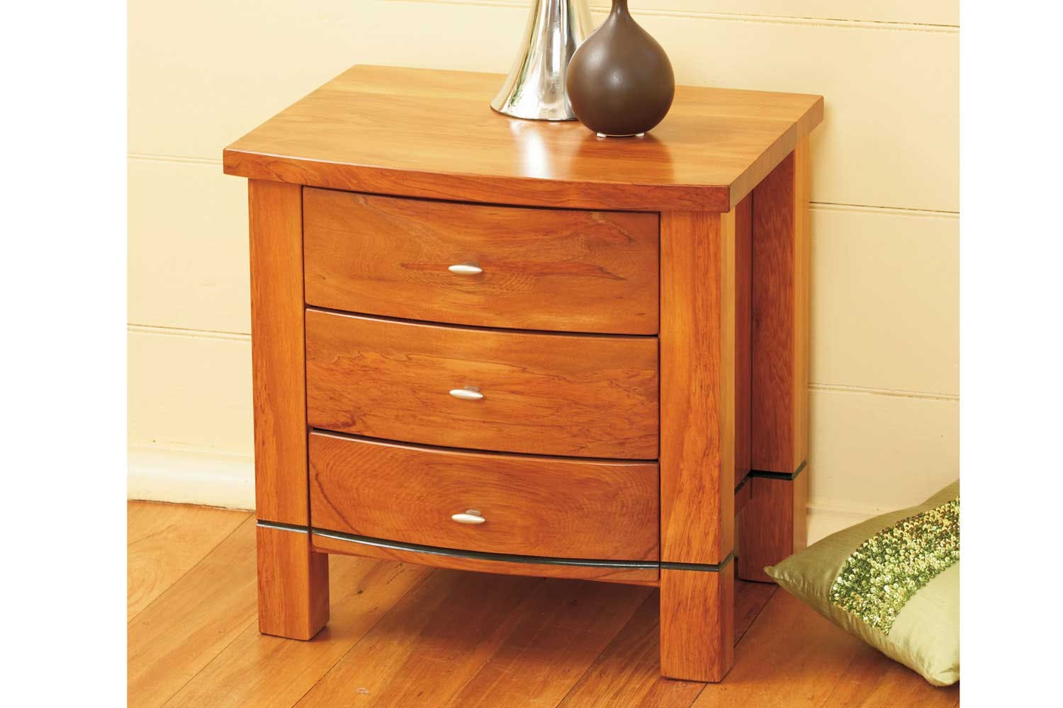 Vision Rimu 4 Drawer Bedside Table by Ezirest Furniture