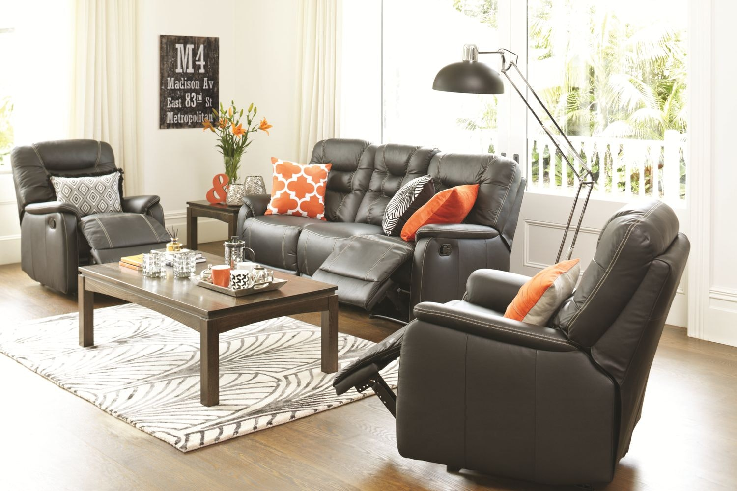 Elliot 3 Piece Leather Lounge Suite - Black