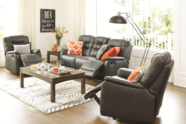 Elliot 3 Piece Leather Lounge Suite - Black
