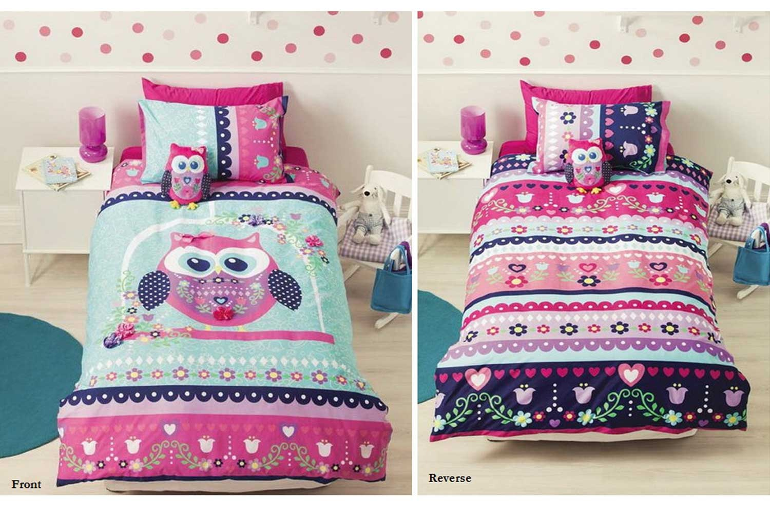 Pretty Owl Kids Duvet Set by Cubby House Kids