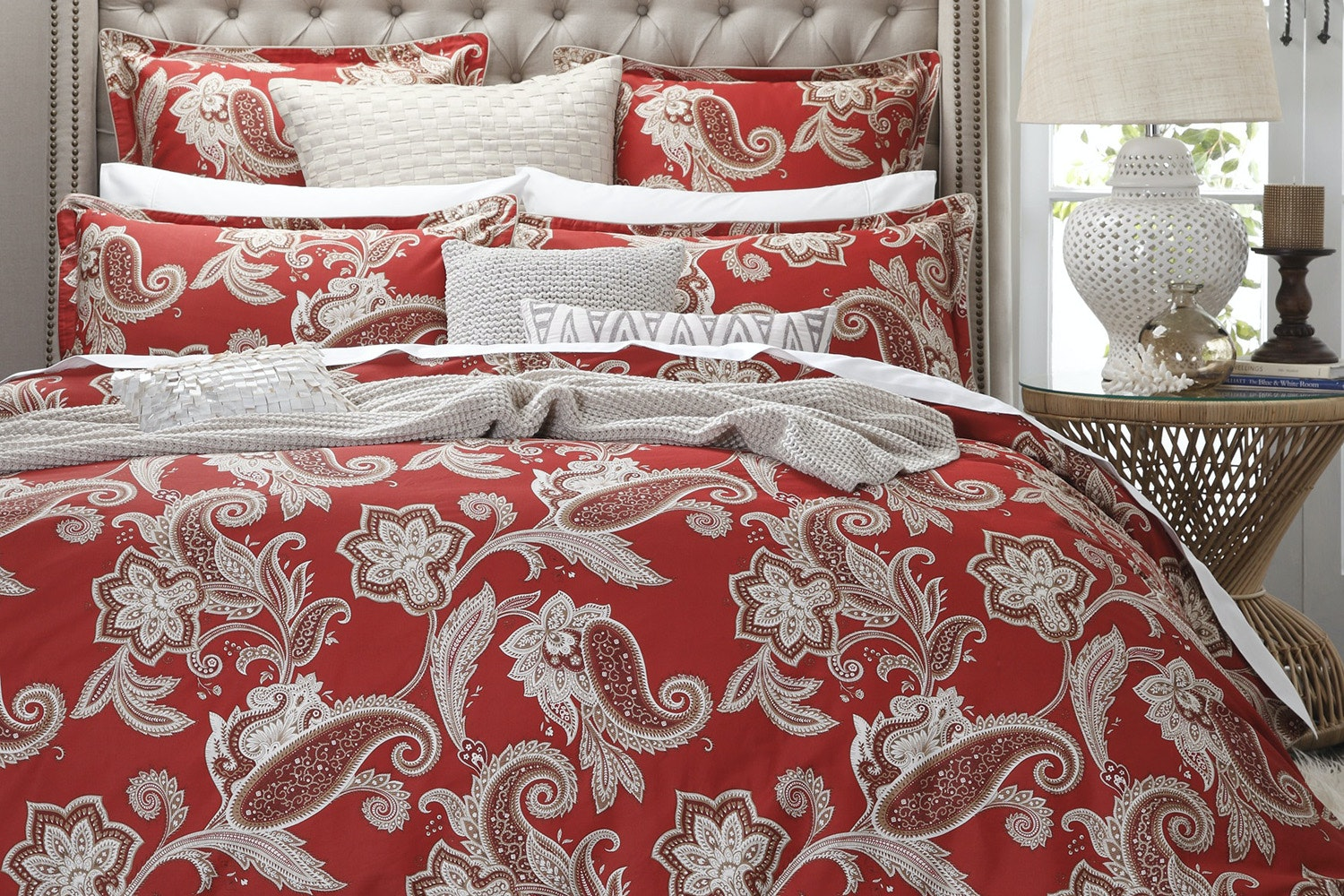 Alexandra Red Duvet Cover