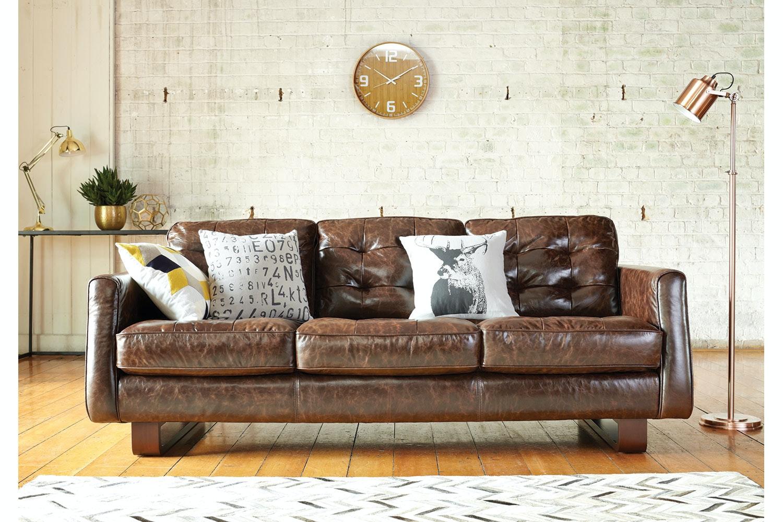 Novara 3 Seat Leather Sofa - by Debonaire Furniture
