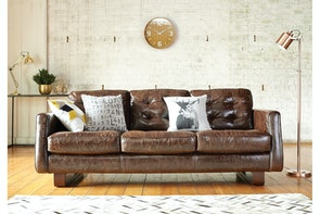 Novara 3 Seat Leather Sofa - by Debonaire Furniture