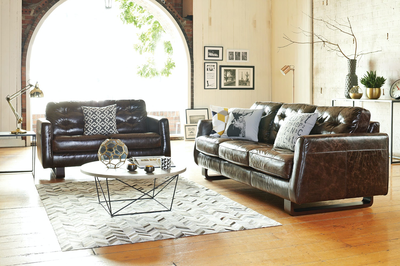Novara 2 Piece Leather Suite - Debonaire Furniture