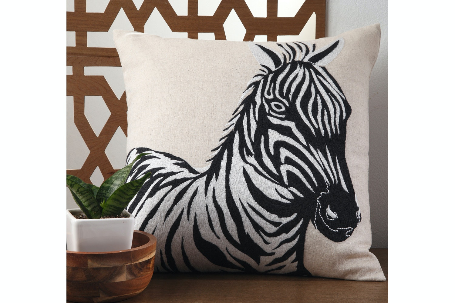 Zahara Zebra Linen  Cushion By Ultima