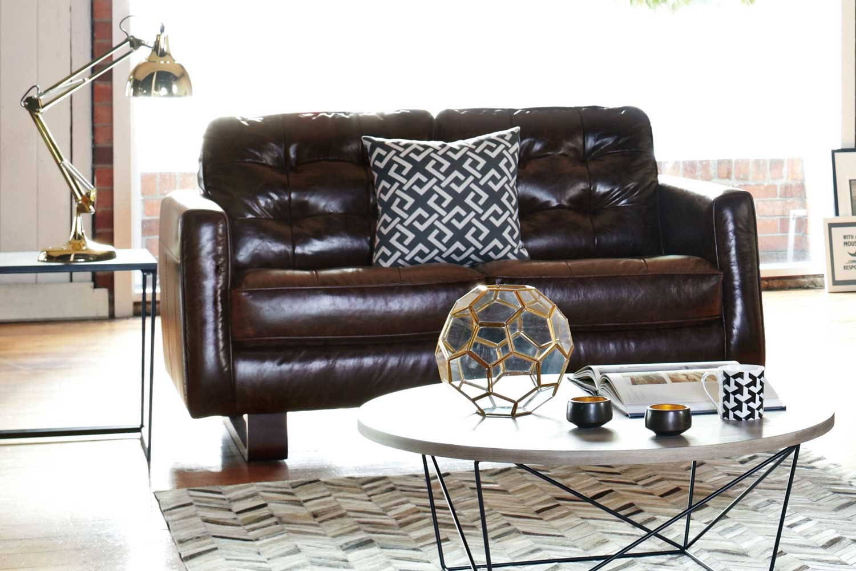 Novara 2 Seat Leather Sofa - by Debonaire Furniture