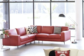Venice Leather 5 Seat Corner Lounge Suite by John Young Furniture