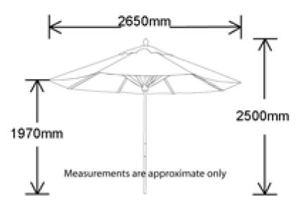 Oriental 2.7m Outdoor Umbrella Red