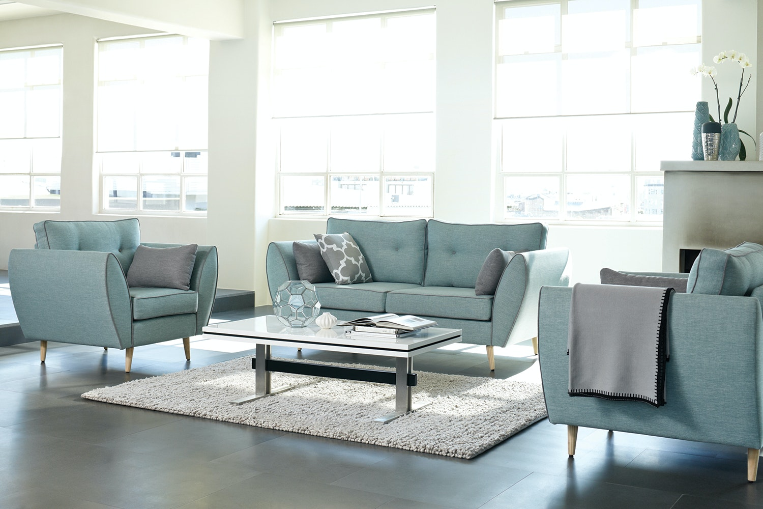 euro 3 piece fabric lounge suite by white rose furniture